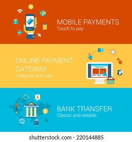 Online payment concept flat icons set of touch screen phone mobile payment checkout gateway bank transfer vector web banners illustration print materials website click infographics elements collection