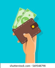 Online payment concept. Hand holding wallet with dollars bills isolated. Flat vector cartoon illustration for business web design. Closed purse with money.