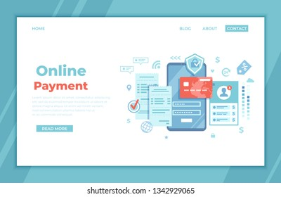 Online Payment Concept. Internet payments, data protection, money transfer, online banking, mobile wallet, pay history, mobile app. Phone with user interface login and password, credit card, bills.