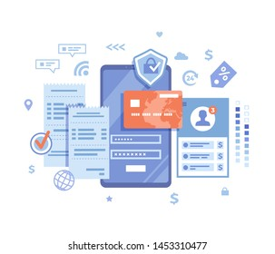 Online Payment Concept. Internet payments, data protection, money transfer, online banking, mobile wallet, pay history, mobile app. Phone with user interface login and password. Vector illustration