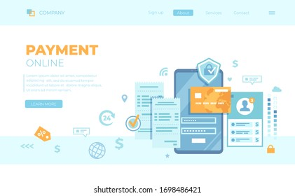 Online Payment Concept. Internet payments, data protection, money transfer, online banking, mobile wallet, mobile app. Phone with user interface. Can use for web banner, landing page, web template.