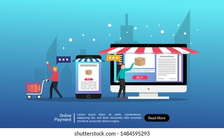 Online payment concept. people character illustration with phone and monitor doing online transaction and payment. flat style drawing . landing page template vector and easy to customize