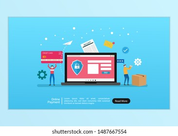 Online payment concept. people character illustration with laptop doing online transaction and payment. flat style drawing. credit card and box. landing page template vector and easy to customize