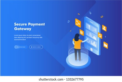 Online payment concept, phone mobile payment checkout gateway bank transfer vector web banners illustration website.