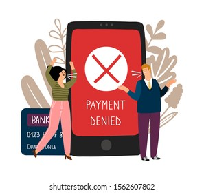 Online payment error. Angry people and declined payment vector concept