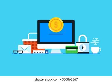Online payment. Flat design modern vector illustration concept.