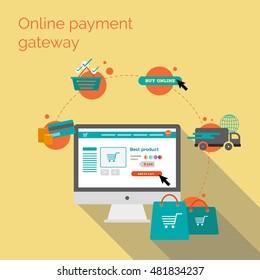 Online payment gateway. Flat vector illustration
