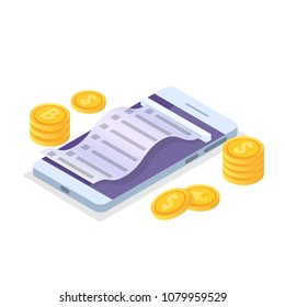Online payment isometric concept  with cash receipt. Mobile purse. Vector illustration