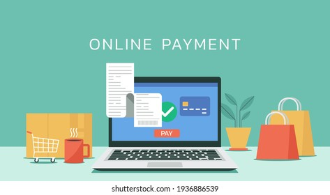 online payment on laptop computer with electronic receipt or financial transaction and credit card concept, flat design vector illustration