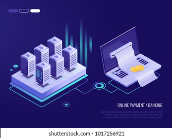 Online payment on laptop , large bill for payment coming out of the screen from the laptop.?oncept of transaction records in the database.3d Isometric style
