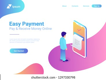 Online Payment on smartphone isometric flat vector 3d isometric illustration. Man pay by mobile bank. Huge phone screen printed receipt. Internet finance service and banking web application template