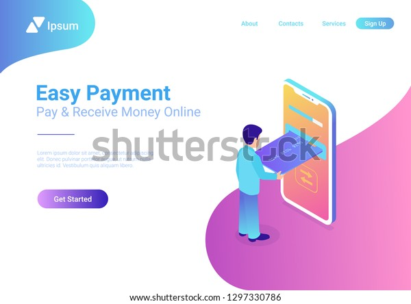 Online Payment On Smartphone Isometric Flat Stock Vector