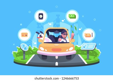 Online payment on the trip vector illustration. Boy travelling with dog by car and making e-payments using credit card smartphone check or cash flat style design. Signs do not litter on road