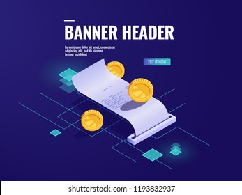 Online payment, paper receipt isometric icon vector, tax with coin, money transaction concept, technology for money accounting dark neon illustration