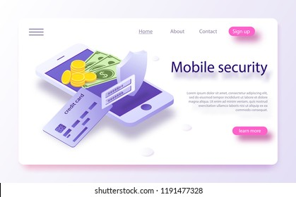 Online payment protection system concept with smartphone and credit card. Mobile payment concept isometric banner. Security and protection contactless payment or via mobile phone with nfc chip.