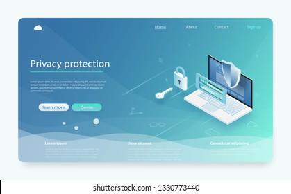 Online-Zahlungsschutzsystem-Konzept mit Laptop. Banner mit Schutz der Daten und Vertraulichkeit. Die Sicherheit mobiler Daten ist isometrisch. Sicherheitsdatenschutzkonzept. Online-Serverschutz-System.