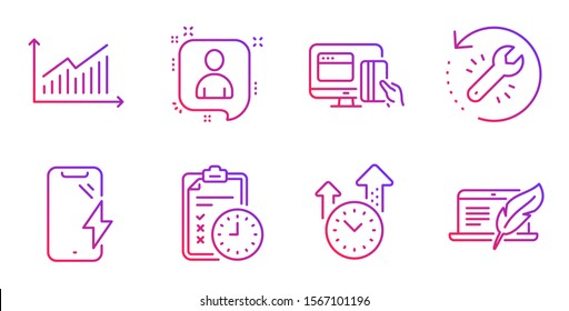 Online payment, Recovery tool and Graph line icons set. Developers chat, Time management and Smartphone charging signs. Exam time, Copyright laptop symbols. Money, Backup info. Vector