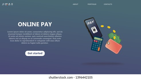 Online payment, secure secure money transfer. Landing page template for virtual money transfer. Smartphone screen with QR code for online payment transfer. Page Template with Isolated Illustration