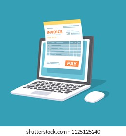 Online payment service. Invoice form on the laptop screen with a pay button. Internet banking concept. Online paying, bookkeeping, accounting. Vector illustration isolated.