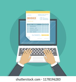 Online payment service. Invoice form on the laptop screen. Man hands on the keyboard. Internet banking concept. Online paying, bookkeeping, accounting. Vector illustration isolated.