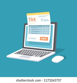 Online payment service. Tax form on the laptop screen with a pay button. Internet banking concept. Online paying, bookkeeping, accounting. Vector illustration isolated.