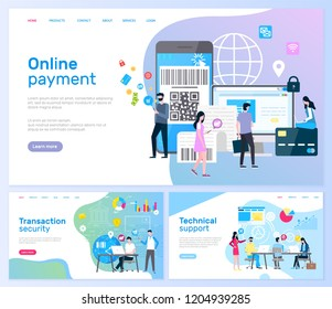 Online payment and transaction security web pages with text sample vector. Smartphone with barcode and shopping , people with globe. Bank institution