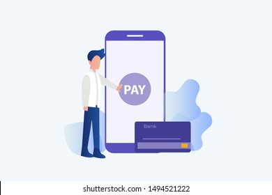 Online payment transfer, mobile pay with smartphone. e banking concept vector illustration concept for web landing page template, banner, flyer and presentation