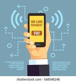 Online payment transfer, mobile pay with smartphone. e banking vector concept. Payment use smartphone, illustration transaction with mobile phone.