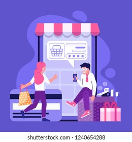 Online payment using application concept with couple shopping on smartphone. Purchases on internet with bank credit card. M commerce advertising illustration.