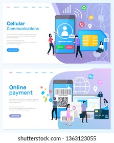 Online payment vector, people using smarphones to buy things, and modern shopping, cellular communication and innovative networks users set. Website or webpage template, landing page flat style