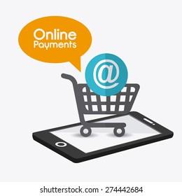 Online payments design over white background, vector illustration.