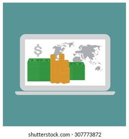 Online payments in laptop concept vector