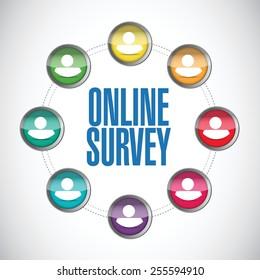 online people survey illustration design over a white background