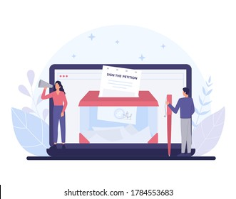 Online petition concept. Collective public appeal online service. Signing and spreading petition for changes. Document addressed to a government. Isolated flat vector illustration