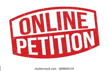 Online petition grunge rubber stamp on white background, vector illustration