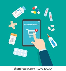 Online pharmacy concept. Man and drugstore on smartphone screen. Vector illustration in flat style