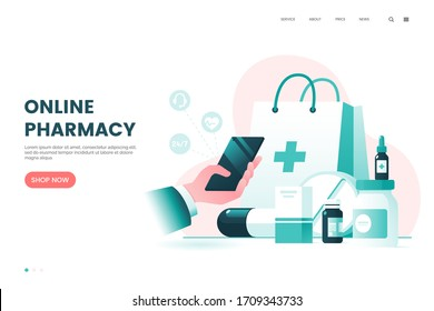 Online pharmacy flat illustration. Medicine ordering mobile app. Medical supplies, bottles liquids and pills. Drug store web page concept. Vector eps 10.