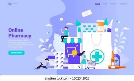 Online pharmacy site design concept. Flat vector illustration with small characters for web site design, banner, landing page. Buy medicaments and drugs online. E-commerse site design.