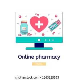 Online pharmacy site design concept. Medicine and pharmacy banners templates. Buy medicaments and drugs online.  illustration concept, can use for, landing page, template, web, mobile app, poster
