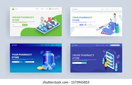 Online Pharmacy Store landing page design with medical elements in four option.