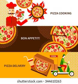 Online and phone orders italian pizza delivery service 3 flat horizontal banners poster abstract isolated vector illustration