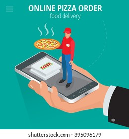 Online pizza order. Ecommerce concept. Fast food delivery online  service. Flat 3d isometric vector illustration.