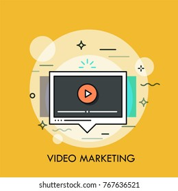 Online player window. Concept of social and viral video marketing strategy, vlogging, multimedia content creation and sharing. Colorful modern vector illustration for web banner, poster, website.