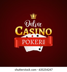 Online Poker casino design sign. Vector gambling illustration with play cards.