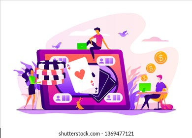 Online poker, internet gambling, online casino rooms and online poker table concept. Vector isolated concept illustration with tiny people and floral elements. Hero image for website.