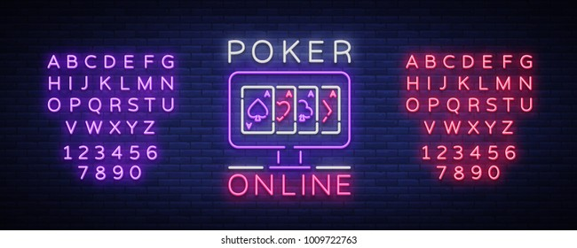 Online poker is a neon sign. Logo symbol in neon style svityaschyysya bright banner billboard night, bright neon poker, gambling casino. Play money online. Vector illustration. Editing text neon sign