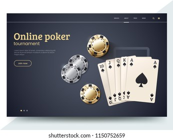 Online poker tournament landing page template. Playing cards with gold and silver chips. Vector illustration for internet casino. Modern web page interface design for gambling. Eps 10.
