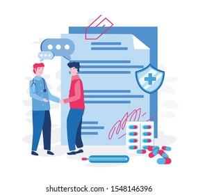 Online prescription, doctor online writes the medical prescription, bottle, secure medicine. Vector illustration.for web banner, infographics, mobile website.