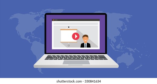 online presentation use video and computer via online network internet