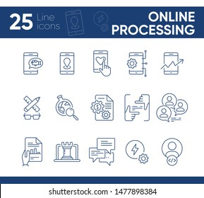 Online processing icons. Set of line icons. Mobile phone video, market research, marketing planning. Business concept. Vector illustration can be used for topics like internet, technology, networking